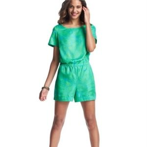 LOFT green blue palm print short sleeve romper